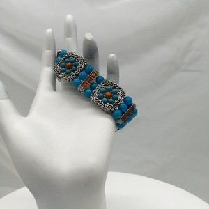 #1121 Unsigned Bracelet Stretch Turquois Colored